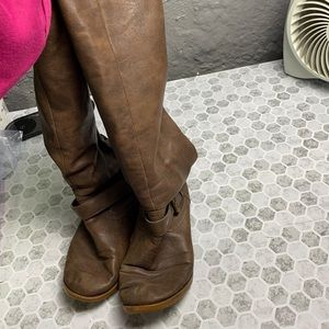 Just Fab Sz 9 Brown Riding Boots Zip Up